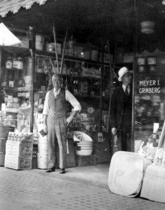 Meyer Grinberg in front of his store (source:  Allen Grinberg via the Homestead Exhibit Photographs)