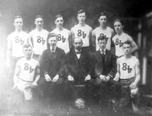 """The 84"""" mill basketball team, 1916 (source:  contributed to the Heinz History Center, Homestead Exhibit Photographs by Robert Olson)"""