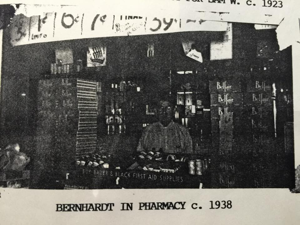 Bernhardt at the counter of his son's pharmacy, c. 1938.  (Unfortunately I cannot figure out who has the original of this photograph, so I can only post the xerox from a family history book my cousin distributed in 1991.)