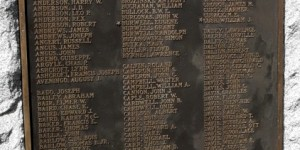Homestead's WWI monument: A-E names.  Many names of from the shul plaques appear on these and the next three panels.