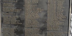 "Homestead's WWI monument: S-Z names.  The bottom part reads, ""Any names of Homestead District ex-service men and women which do not appear on this memorial will be found on other memorials already erected in other sections of the district."""