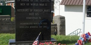 Homestead's WWII monument at the foot of the Homestead Gray's Bridge.  Note how late it was erected.