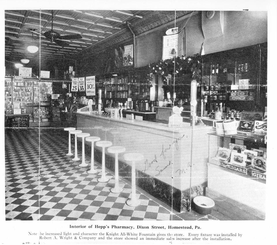 Interior of Samuel W. Hepps' pharmacy at 406 Dixon St., c. 1930