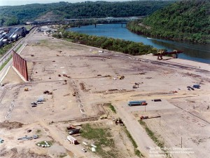 The Homestead waterfront after the destruction of the steel mill and before the erection of the shopping complex.  (source)