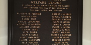 Re-made WWI plaque hanging in Beth Shalom