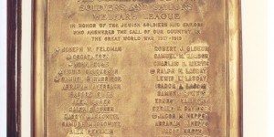 Original WWI plaque that hung in the shul