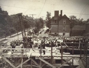June 6, 1903 cornerstone laying for Homestead's First Presbyterian Church (source:  Carnegie Library of Homestead)