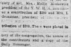 """""""There were placed in ………………. -tory of the congregation, the names of the contributors and a copy of the Daily Messenger."""""""