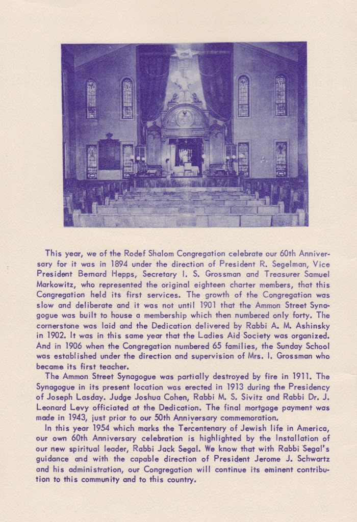 History of the synagogue in the program for its 60th anniversary