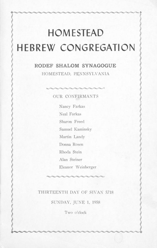 Cover of the confirmation program for the 1958 class