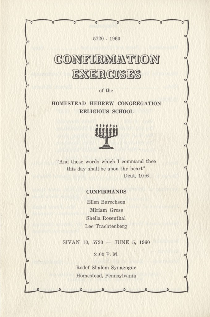 Front cover of program for 1960 confirmation