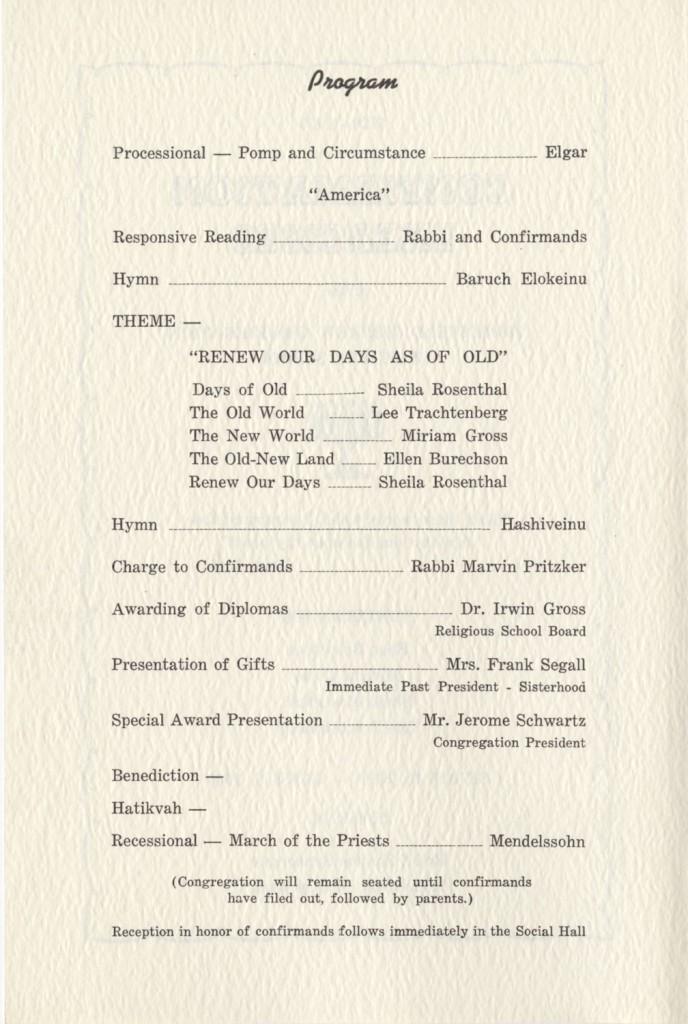 Back of program for 1960 confirmation