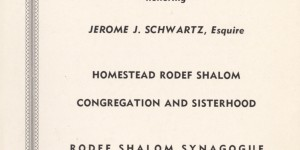 Cover of program for testimonial dinner honoring Jerome J. Schwartz