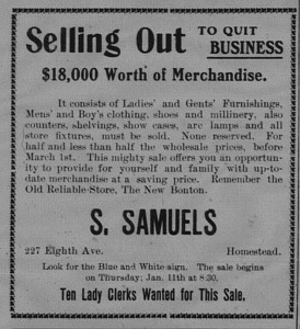 1/9: S. Samuels quitting business.