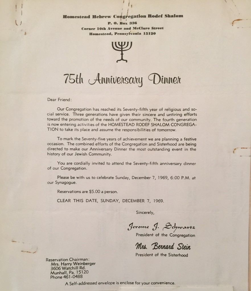 Invitation letter to 75th anniversary dinner