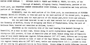The first part of the deed for the additional cemetery land.  Click to enlarge.