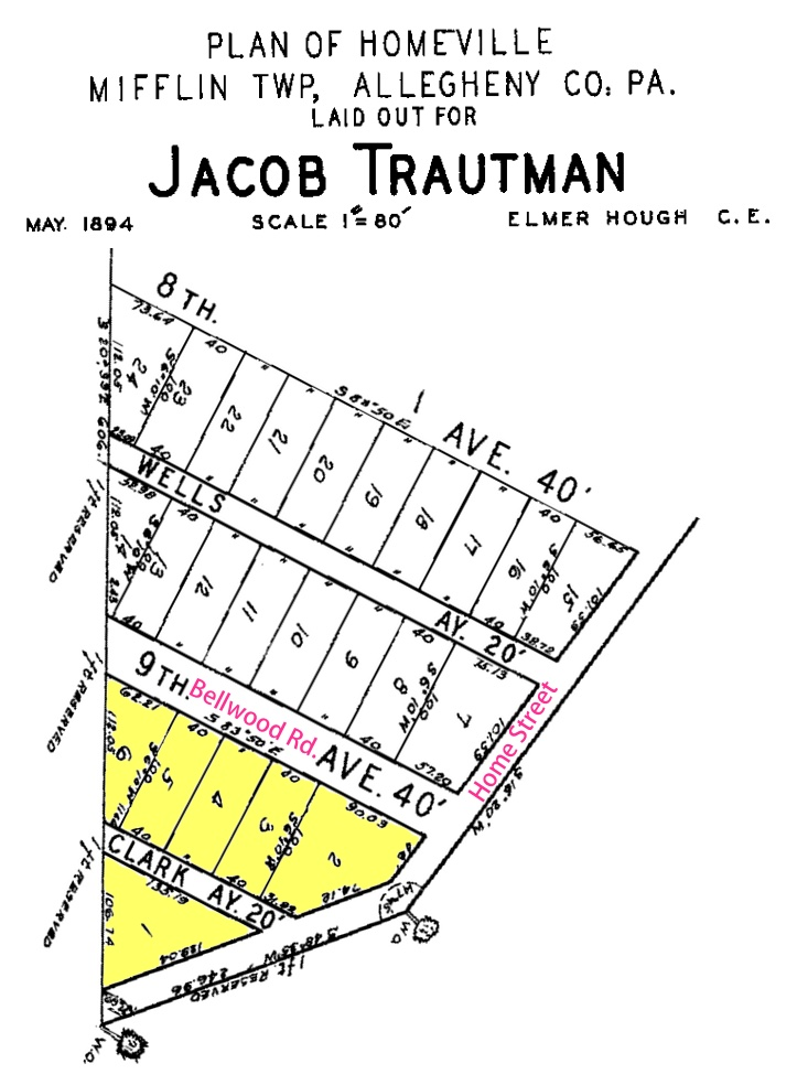 Original plan of the cemetery (adapted from the Plan of Homeville).