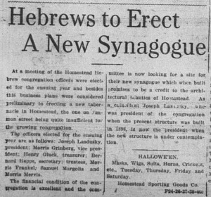 10/24/1911: Hebrews to Erect a New Synagogue