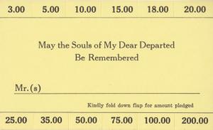 Yizkor pledge card (Box 9, Folder 7)