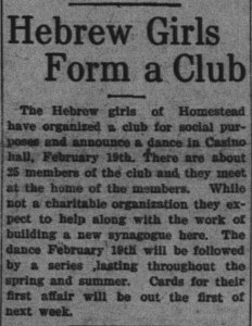 2/2/1912: Hebrew Girls Form a Club