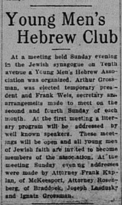 10/27/1914: Young Men's Hebrew Club organized
