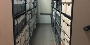 The records live on the right in the middle shelves adjacent to the wall.