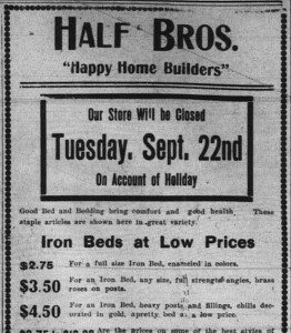 9/19/1903: Top section of a Half Bros. ad announcing one day of closing for Rosh Hashana.