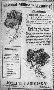 """9/23/1909: Lasdusky attempted an """"informal millinery opening"""" on Thursday. As for Saturday, he promised customers that """"it will pay you to wait with your purchases until Saturday evening."""""""