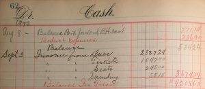 Summary of 1923 holiday income. Click to enlarge. (Box 5, Cash Book 1916-1931, p. 62)