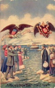 """A Rosh Hashana card c. 1909. The banner carried by the American bald eagle translates to, """"Shelter us in the shadow of Your wings"""" (Psalms 17:8). Click to enlarge."""