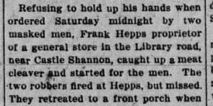 11/29/1915:  Frank Hepps Shot