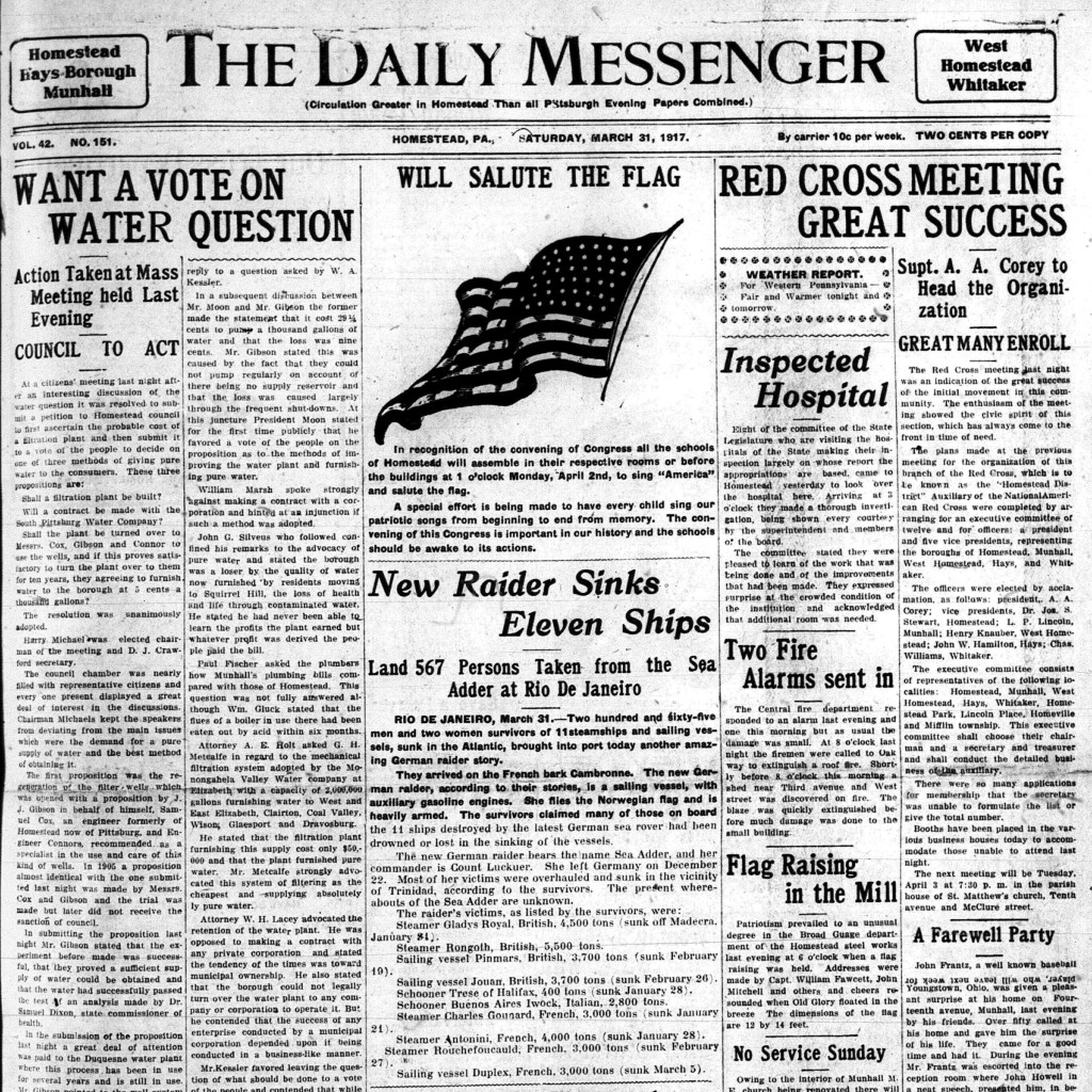 3/31/1917 front page of the Daily Messenger