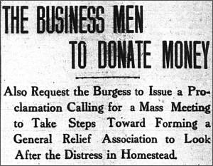 This headline from 2/12/1908 reflects conditions after the Panic of 1907 of subsequent contraction of the steel industry.
