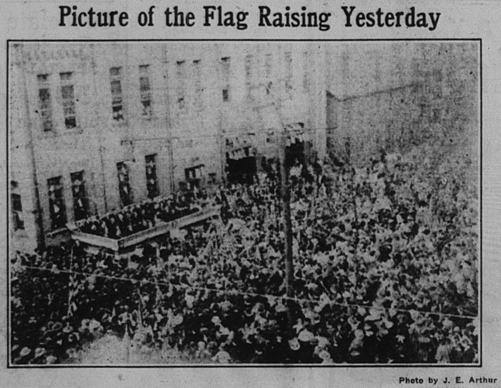 4/20/1917: The flag raising at the Homestead municipal building (today the Voodoo Brewery)