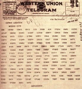 The Zimmerman telegram, encoded.