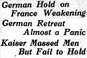 Headlines from the Homestead paper during the failed Nivelle Offensive (4/18, 4/19, and 4/26/1917)