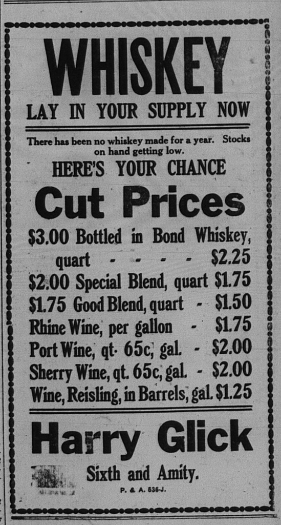 """9/25/1918: """"There has been no whiskey made for a year."""""""