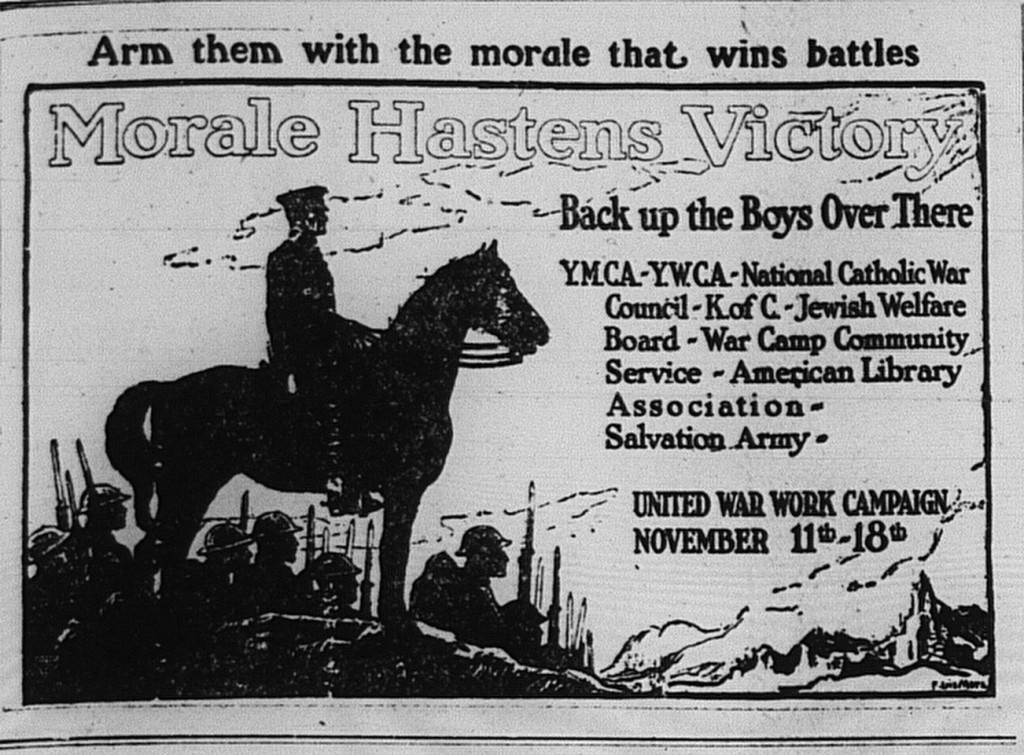 1024/1918: Ad for the United War Work Campaign, which include the Jewish Welfare Board