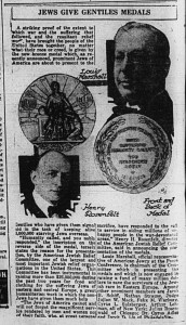 10/13/1919: Jews Give Gentiles Medals