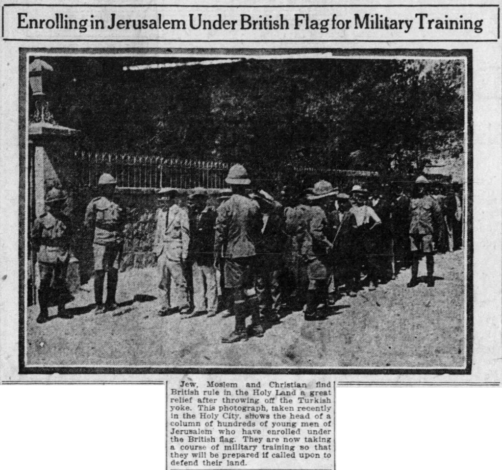4/24/1919: Enrolling in Jerusalem Under British Flag for Military Training. (This photo appeared in the Homestead paper on this day without a caption; the image with caption was better reproduced in The Muncie Morning Star on 4/19, from where I got this copy.