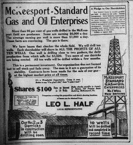 1/26/1920: Ad for McKeesport-Standard Gas and Oil Enterprises, naming Leo L. Half as the local repsentative