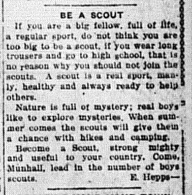 5/12/1920: Be a Scout, by E. Hepps