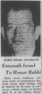 Rabbi Israel Goldblum, brother to Jeff's grandfather (source: New Jersey Jewish News, February 24, 1967, p. 21)